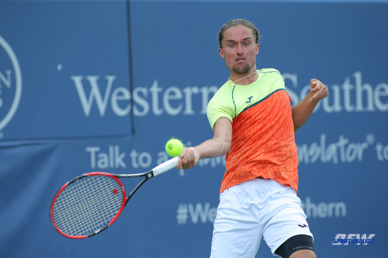 CINCINNATI, OH - AUGUST 16: Alexandr Dolgopolov (UKR) hits a forehand during the Western & Southern Open at the Lindner Family Tennis Center in Mason, Ohio on August 16, 2017.(Photo by George Walker/Icon Sportswire)