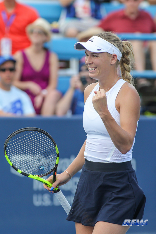 CINCINNATI, OH - AUGUST 16: Caroline Wozniacki (DEN) reacts to a point during the Western & Southern Open at the Lindner Family Tennis Center in Mason, Ohio on August 16, 2017.(Photo by George Walker/Icon Sportswire)