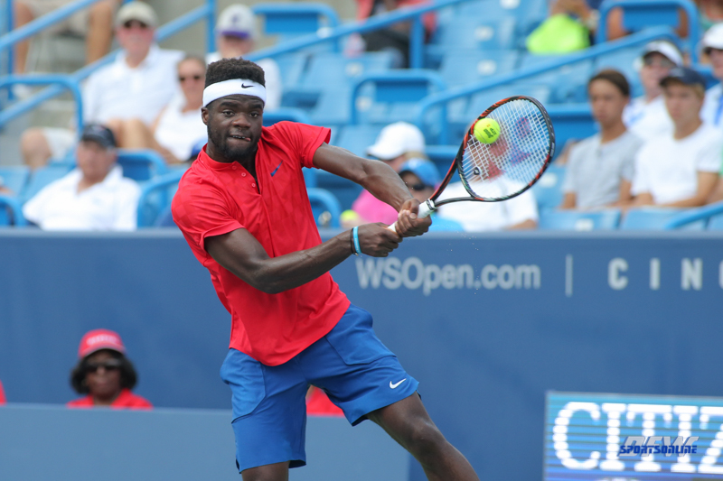 CINCINNATI, OH - AUGUST 16: Frances Tiafoe (USA) hits a backhand during the Western & Southern Open at the Lindner Family Tennis Center in Mason, Ohio on August 16, 2017.(Photo by George Walker/Icon Sportswire)