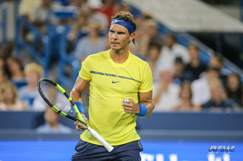 CINCINNATI, OH - AUGUST 16: Rafael Nadal (ESP) reacts to a point during the Western & Southern Open at the Lindner Family Tennis Center in Mason, Ohio on August 16, 2017.(Photo by George Walker/Icon Sportswire)