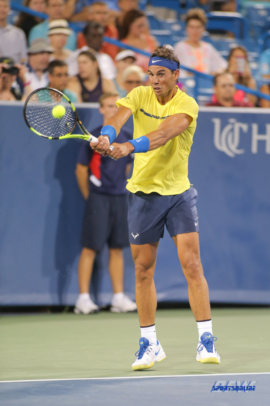 CINCINNATI, OH - AUGUST 16: Rafael Nadal (ESP) hits a backhand during the Western & Southern Open at the Lindner Family Tennis Center in Mason, Ohio on August 16, 2017.(Photo by George Walker/Icon Sportswire)