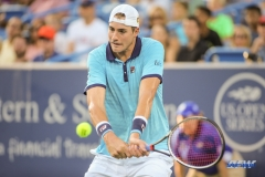 CINCINNATI, OH - John Isner (USA) hits a backhand during the Western & Southern Open at the Lindner Family Tennis Center in Mason, Ohio on August 13, 2017, (Photo by George Walker/DFWsportsonline