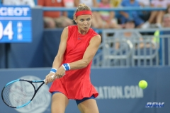 CINCINNATI, OH - AUGUST 15: Lucie Safarova (CZE) hits a backhand during the Western & Southern Open at the Lindner Family Tennis Center in Mason, Ohio on August 15, 2017. (Photo by George Walker/Icon Sportswire)