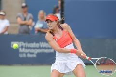 CINCINNATI, OH - AUGUST 16: Alize' Cornet (FRA) hits a backhand during the Western & Southern Open at the Lindner Family Tennis Center in Mason, Ohio on August 16, 2017.(Photo by George Walker/Icon Sportswire)
