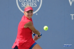CINCINNATI, OH - AUGUST 16: Elena Vesnina (RUS) hits a backhand during the Western & Southern Open at the Lindner Family Tennis Center in Mason, Ohio on August 16, 2017.(Photo by George Walker/Icon Sportswire)