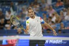 CINCINNATI, OH - AUGUST 16: Richard Gasquet (FRA) hits a forehand volley during the Western & Southern Open at the Lindner Family Tennis Center in Mason, Ohio on August 16, 2017.(Photo by George Walker/Icon Sportswire)