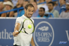 CINCINNATI, OH - AUGUST 16: Richard Gasquet (FRA) hits a backhand during the Western & Southern Open at the Lindner Family Tennis Center in Mason, Ohio on August 16, 2017.(Photo by George Walker/Icon Sportswire)