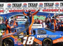 Kyle Busch celebrates in Victory Lane after winning the NASCAR Nationwide Series O'Reilly 300 at Texas Motor Speedway. Photo by George Walker.