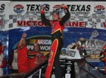 Kyle Busch celebrates his victory in the NASCAR Camping World Truck Series Winstar World Casino 350k at Texas Motor Speedway. Photo by George Walker.