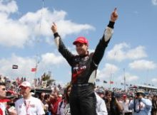 Will Power celebrates winning the 2010 IZOD IndyCar race at St. Petersburg. Photo by Ron McQueeney for IZOD IndyCar