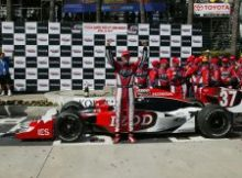 Ryan Hunter-Reay celebrates winning the IZOD IndyCar Toyota Grand Prix of Long Beach. Photo by Richard Dowdy for IZOD IndyCar