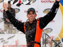 "Aric Almirola celebrates his first NASCAR Camping World Truck Series win in Victory Lane at Dover International Speedway. He called the win ""a dream come true."" Credit: Geoff Burke/Getty Images for NASCAR"