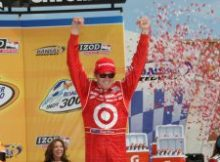 Scott Dixon celebrates winning the IZOD IndyCar Series Road Runner 300. Photo Jim Haines for IndyCar