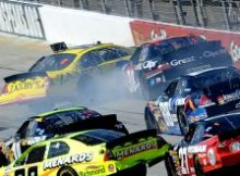 Drivers collected in the final caution of Saturday were Clint Bowyer, Denny Hamlin, Kasey Kahne, Chad McCumbee, Trevor Bayne, Brendan Gaughan, Mike Bliss, Greg Biffle and Paul Menard. Credit: Jeff Zelevansky/Getty Images for NASCAR