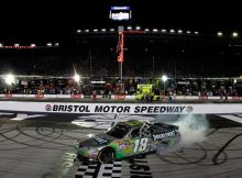 Kyle Busch does a burnout to celebrate his IRWIN Tools Night Race at Bristol Motor Speedway victory, the 19th NASCAR Sprint Cup Series win of his career. Credit: Jason Smith/Getty Images