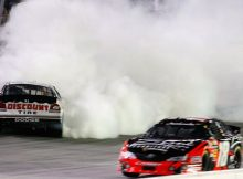 Kyle Busch drives by Brad Keselowski after the two made contact in Turn 4 of Lap 218. Busch won for the 10th time of the season, tying the NASCAR Nationwide Series record held by Sam Ard and Busch (in 2008). Credit: Geoff Burke/Getty Images for NASCAR
