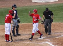 Ian Kinsler crosses home plate after hitting a home run for the Texas Rangers against the Tampa Bay Rays in the 2010 ALDS. Photo by George Walker