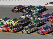 Four-wide and sometimes five-wide racing created an action-packed NASCAR Sprint Cup Series AMP Energy Juice 500 at Talladega Superspeedway which saw 87 lead changes among 26 drivers. Credit: Todd Warshaw/Getty Images