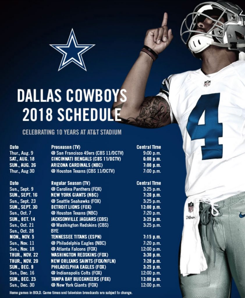 Lucrative image for dallas cowboys printable schedule