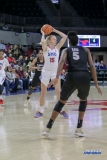 UNIVERSITY PARK, TX - JANUARY 03: Southern Methodist Mustangs forward Stephanie Collins (15) looks to pass the ball during the women's game between SMU and UCF on January 3, 2018 at Moody Coliseum in Dallas, TX. (Photo by George Walker/Icon Sportswire)