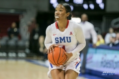 UNIVERSITY PARK, TX - JANUARY 03: Southern Methodist Mustangs guard Mikayla Reese (4) looks at the basket during the women's game between SMU and UCF on January 3, 2018 at Moody Coliseum in Dallas, TX. (Photo by George Walker/Icon Sportswire)