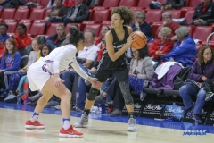 UNIVERSITY PARK, TX - JANUARY 03: UCF Knights guard Kayla Thigpen (11) looks to pass the ball during the women's game between SMU and UCF on January 3, 2018 at Moody Coliseum in Dallas, TX. (Photo by George Walker/Icon Sportswire)