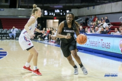 UNIVERSITY PARK, TX - JANUARY 03: UCF Knights guard Zakiya Saunders (3) drives to the basket during the women's game between SMU and UCF on January 3, 2018 at Moody Coliseum in Dallas, TX. (Photo by George Walker/Icon Sportswire)