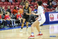 UNIVERSITY PARK, TX - JANUARY 03: UCF Knights guard Lawriell Wilson (23) brings the ball up court during the women's game between SMU and UCF on January 3, 2018 at Moody Coliseum in Dallas, TX. (Photo by George Walker/Icon Sportswire)