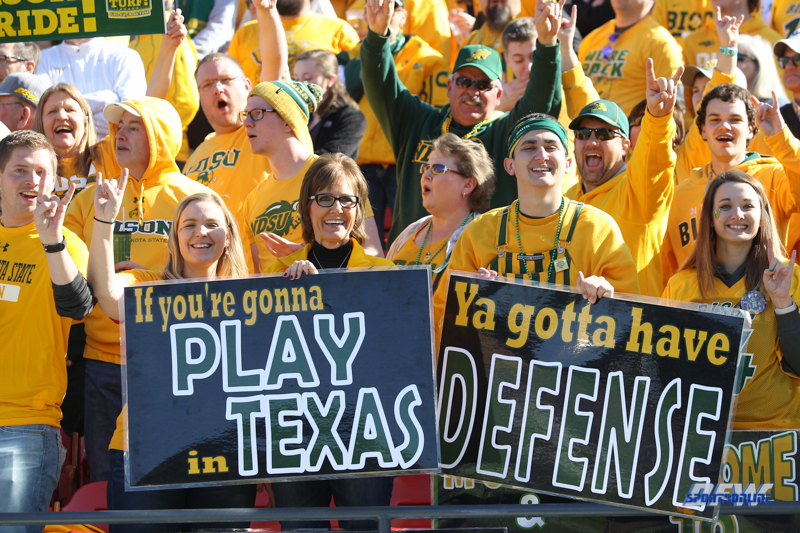 FRISCO, TX - JANUARY 6: North Dakota State fans during the NCAA FCS Championship football game between North Dakota State and James Madison on January 6, 2018 at Toyota Stadium in Frisco, TX. (Photo by George Walker/DFWsportsonline)