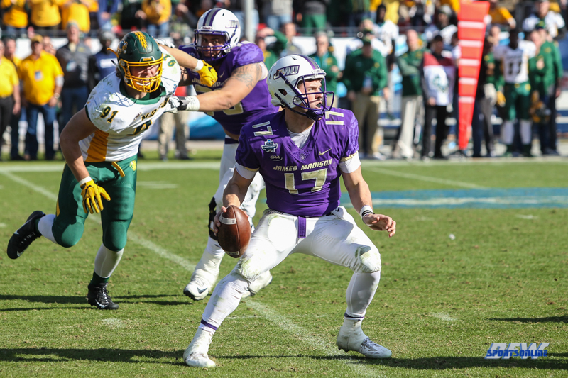 FRISCO, TX - JANUARY 6: James Madison Dukes quarterback Bryan Schor (17) drops back to pass during the NCAA FCS Championship football game between North Dakota State and James Madison on January 6, 2018 at Toyota Stadium in Frisco, TX. (Photo by George Walker/DFWsportsonline)