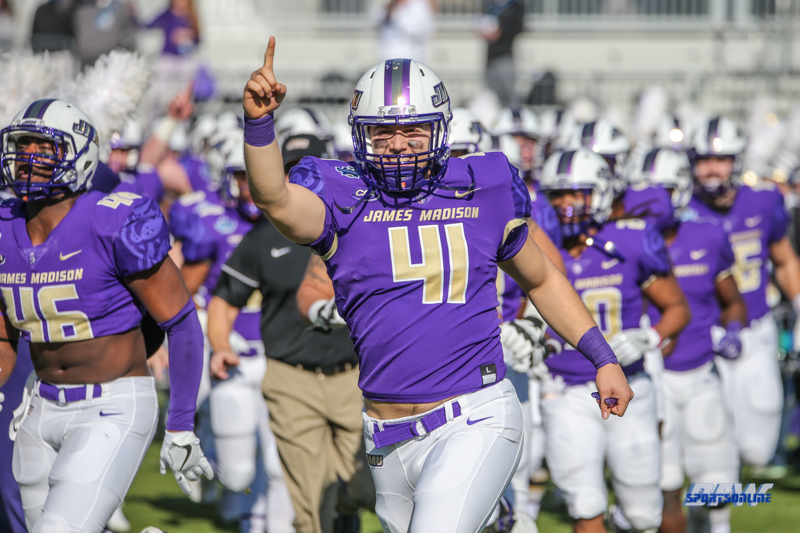 FRISCO, TX - JANUARY 6: James Madison Dukes linebacker Brett Siegel (41) leads the team onto the field during the NCAA FCS Championship football game between North Dakota State and James Madison on January 6, 2018 at Toyota Stadium in Frisco, TX. (Photo by George Walker/DFWsportsonline)