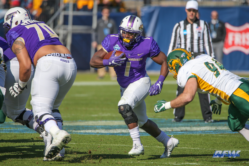 FRISCO, TX - JANUARY 6: James Madison Dukes running back Trai Sharp (1) runs through the line during the NCAA FCS Championship football game between North Dakota State and James Madison on January 6, 2018 at Toyota Stadium in Frisco, TX. (Photo by George Walker/DFWsportsonline)