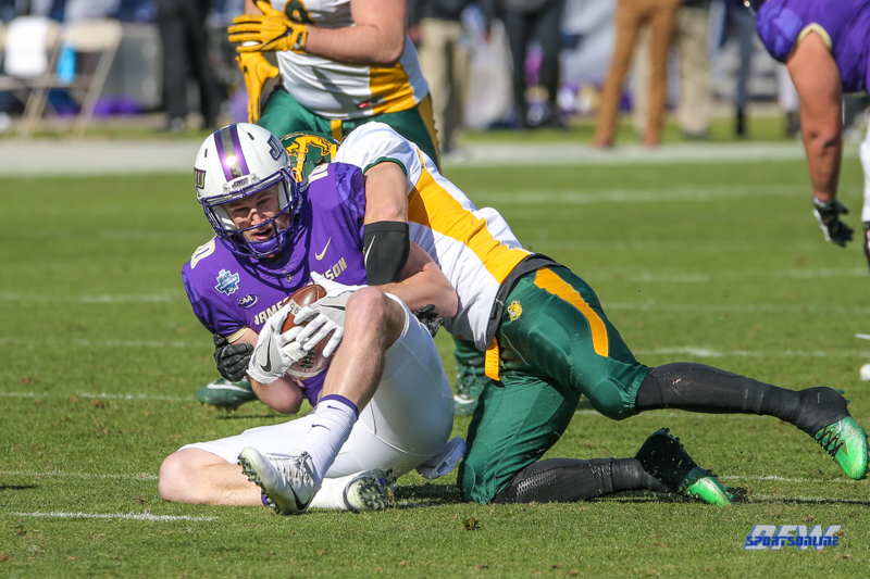 FRISCO, TX - JANUARY 6: James Madison Dukes wide receiver Riley Stapleton (10) is tackled during the NCAA FCS Championship football game between North Dakota State and James Madison on January 6, 2018 at Toyota Stadium in Frisco, TX. (Photo by George Walker/DFWsportsonline)