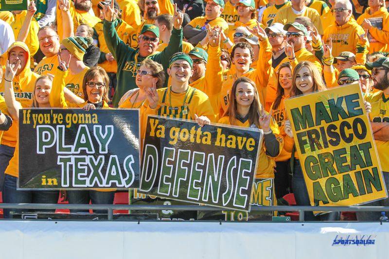 FRISCO, TX - JANUARY 06: North Dakota State fans hold signs during the FCS National Championship game between North Dakota State and James Madison on January 6, 2018 at Toyota Stadium in Frisco, TX. (Photo by George Walker/Icon Sportswire)