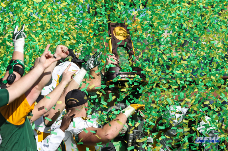 FRISCO, TX - JANUARY 06: Confetti covers the trophy for the FCS National Championship game between North Dakota State and James Madison on January 6, 2018 at Toyota Stadium in Frisco, TX. (Photo by George Walker/Icon Sportswire)