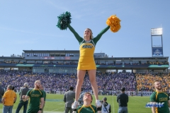 FRISCO, TX - JANUARY 6: North Dakota State cheerleader performs during the NCAA FCS Championship football game between North Dakota State and James Madison on January 6, 2018 at Toyota Stadium in Frisco, TX. (Photo by George Walker/DFWsportsonline)