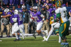 FRISCO, TX - JANUARY 06: James Madison Dukes safety D'Angelo Amos (24) returns a kick during the FCS National Championship game between North Dakota State and James Madison on January 6, 2018 at Toyota Stadium in Frisco, TX. (Photo by George Walker/Icon Sportswire)
