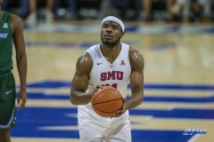 UNIVERSITY PARK, TX - JANUARY 20: Southern Methodist Mustangs guard Ben Emelogu II (21) shoots a free throw during the game betweed SMU and Tulane on January 20, 2018 at Moody Coliseum in Dallas, TX. (Photo by George Walker/Icon Sportswire)