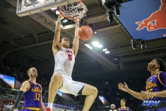 UNIVERSITY PARK, TX - JANUARY 28: Southern Methodist Mustangs forward Ethan Chargois (5) dunks during the game between SMU and East Carolina on January 28, 2018 at Moody Coliseum in Dallas, TX. (Photo by George Walker/Icon Sportswire)