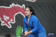 DALLAS, TX - February 03: Sarai Monarrez Yesaki during the SMU women's tennis match vs Texas A&M Corpus Christi on February 3, 2018, at the SMU Tennis Complex, Turpin Stadium & Brookshire Family Pavilion in Dallas, TX. (Photo by George Walker/DFWsportsonline)