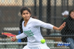 Denton, TX - February 3: Nidhi Surapaneni during the UNT Mean Green Women's Tennis dual match against the IOWA Hawkeyes on February 3, 2018 at the Waranch Tennis Complex in Denton, TX. (Photo by Mark Woods/DFWsportsonline)
