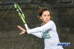 Denton, TX - February 3: Tamuna Kutubidze at the UNT Mean Green Women's Tennis dual match against the IOWA Hawkeyes on February 3, 2018 at the Waranch Tennis Complex in Denton, TX. (Photo by Mark Woods/DFWsportsonline)