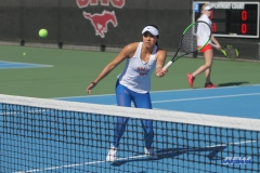 DALLAS, TX - FEBRUARY 4: Ana Perez-Lopez hits a forehand volley during the SMU women's tennis match vs Iowa on February 4, 2018, at the SMU Tennis Complex, Turpin Stadium & Brookshire Family Pavilion in Dallas, TX. (Photo by George Walker/DFWsportsonline)