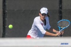 DALLAS, TX - FEBRUARY 4: Tiffany Hollebeck hits a backhand during the SMU women's tennis match vs Iowa on February 4, 2018, at the SMU Tennis Complex, Turpin Stadium & Brookshire Family Pavilion in Dallas, TX. (Photo by George Walker/DFWsportsonline)