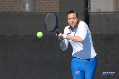 DALLAS, TX - FEBRUARY 4: Liza Buss hits a backhand during the SMU women's tennis match vs Iowa on February 4, 2018, at the SMU Tennis Complex, Turpin Stadium & Brookshire Family Pavilion in Dallas, TX. (Photo by George Walker/DFWsportsonline)