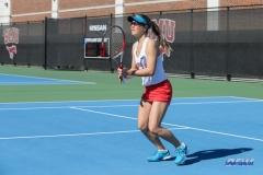 DALLAS, TX - FEBRUARY 4: Karina Traxler during the SMU women's tennis match vs Iowa on February 4, 2018, at the SMU Tennis Complex, Turpin Stadium & Brookshire Family Pavilion in Dallas, TX. (Photo by George Walker/DFWsportsonline)