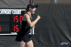 DALLAS, TX - FEBRUARY 4: Iowa player reacts during the SMU women's tennis match vs Iowa on February 4, 2018, at the SMU Tennis Complex, Turpin Stadium & Brookshire Family Pavilion in Dallas, TX. (Photo by George Walker/DFWsportsonline)