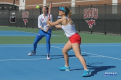 DALLAS, TX - FEBRUARY 4: Karina Traxler hits a forehand volley during the SMU women's tennis match vs Iowa on February 4, 2018, at the SMU Tennis Complex, Turpin Stadium & Brookshire Family Pavilion in Dallas, TX. (Photo by George Walker/DFWsportsonline)