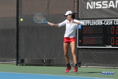 DALLAS, TX - FEBRUARY 4: Tiffany Hollebeck hits a forehand during the SMU women's tennis match vs Iowa on February 4, 2018, at the SMU Tennis Complex, Turpin Stadium & Brookshire Family Pavilion in Dallas, TX. (Photo by George Walker/DFWsportsonline)