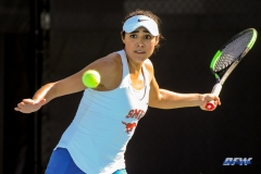 DALLAS, TX - FEBRUARY 4: Ana Perez-Lopez hits a forehand during the SMU women's tennis match vs Iowa on February 4, 2018, at the SMU Tennis Complex, Turpin Stadium & Brookshire Family Pavilion in Dallas, TX. (Photo by George Walker/DFWsportsonline)
